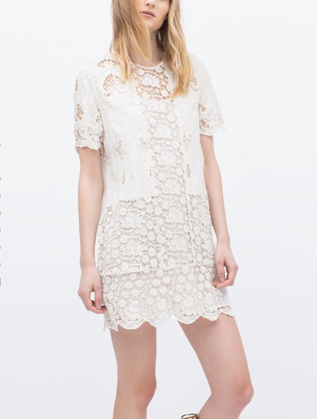 Dress zara lace cute girl white pretty pale flowers wheretoget mightylinksfo