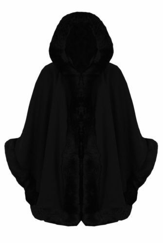 Black faux fur hooded poncho cape by frocksville