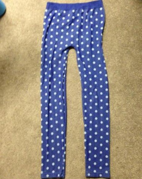 polka dots black dots blue pants leggings comfy cozy