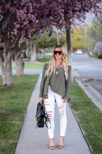 all dolled up blogger jewels sunglasses shoes white jeans ripped jeans grey top long sleeves off the shoulder statement necklace black bag