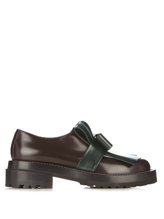 bow loafers leather green shoes