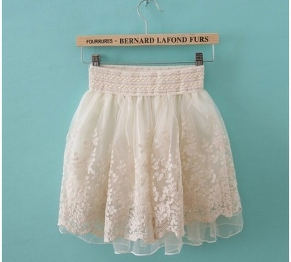 skirt pretty lace flowers see through cream waist band