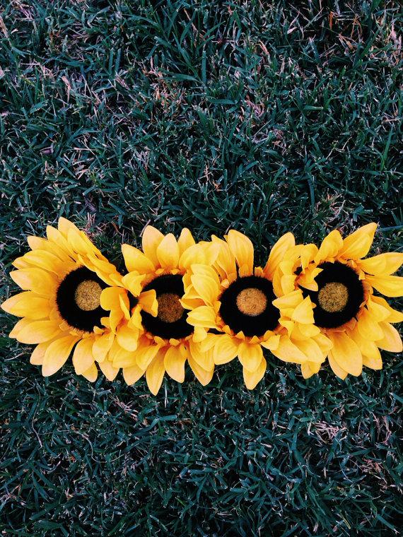Sunflower headband edc headband floral headband by wildzeppelin