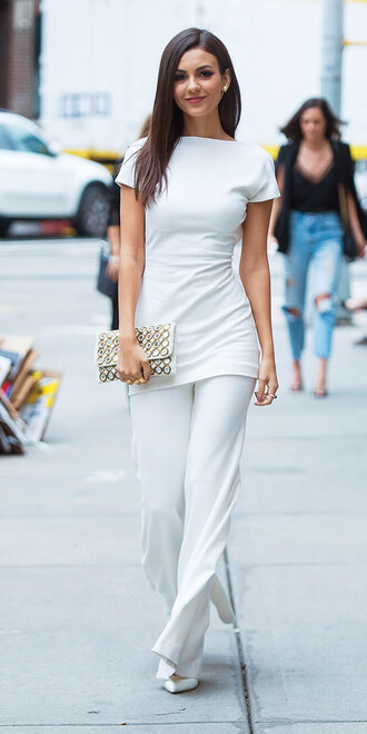 pants all white everything victoria justice streetstyle tunic dress tunic mini dress white nyfw 2017 ny fashion week 2017 fashion week