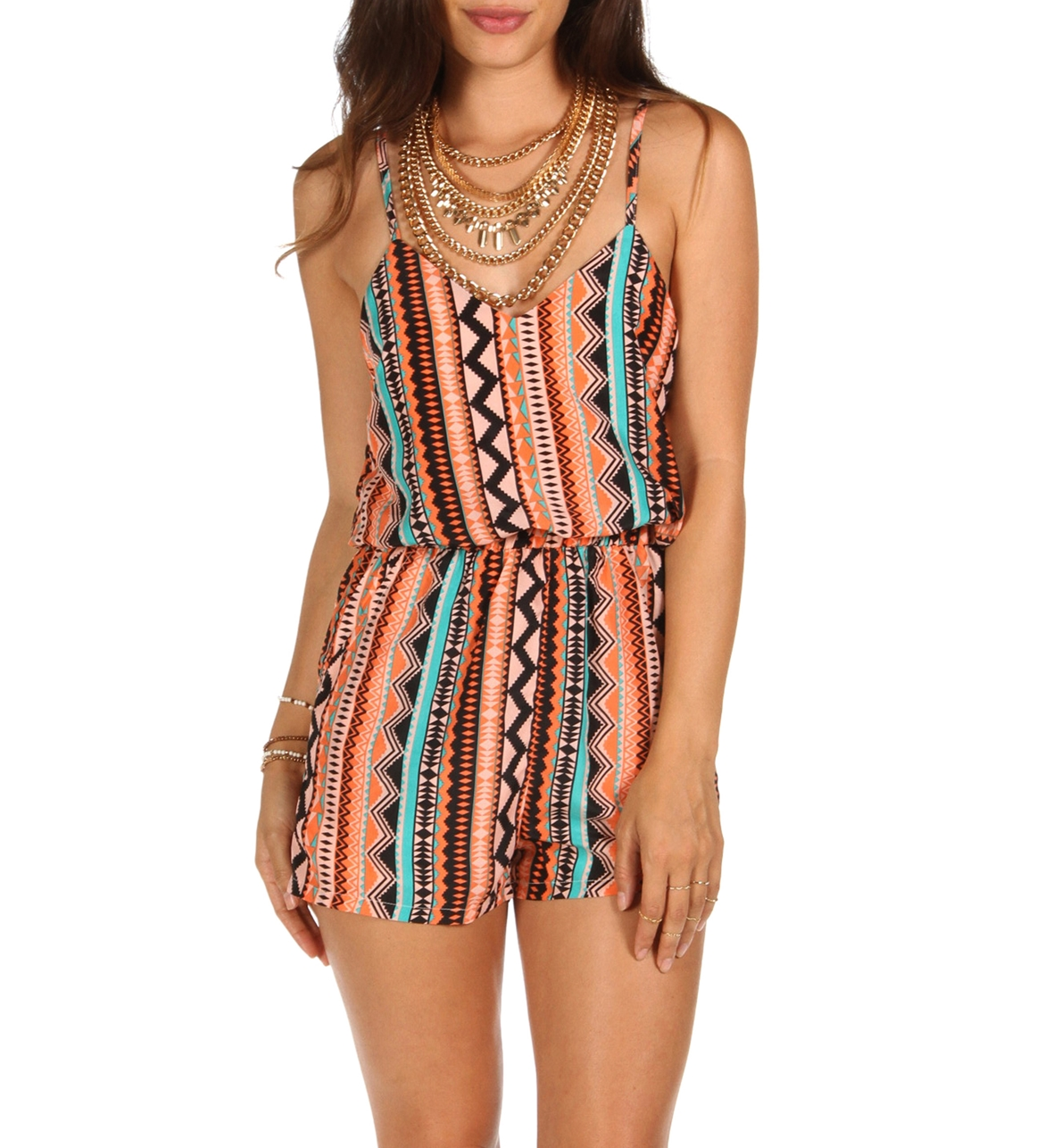 Coral Tribal Caged Back Romper