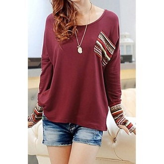 burgundy tribal pattern aztec sweater t-shirt top blouse fall outfits fashion winter sweater cute dress cute girly clothes