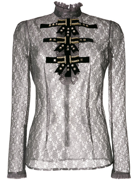 Philosophy Di Lorenzo Serafini - detailed lace sheer blouse - women - Polyamide/Polyester - 44, Grey, Polyamide/Polyester