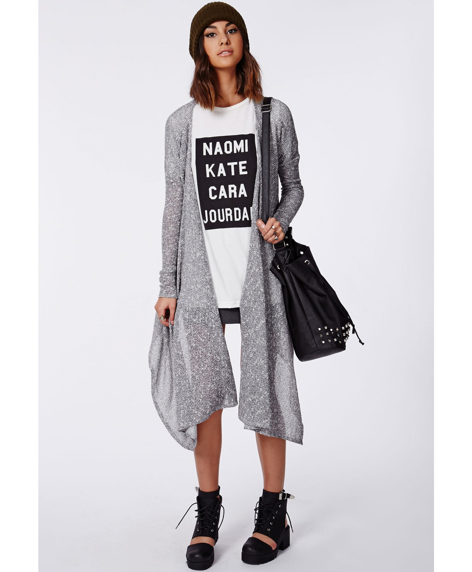 Caragh Long Line Waterfall Cardigan Grey
