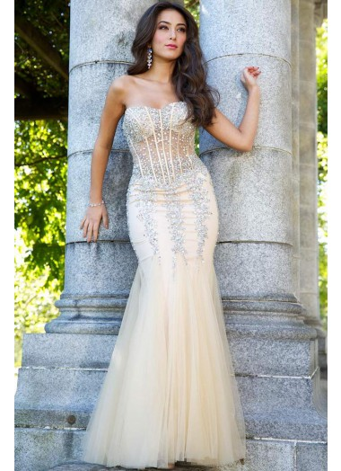 2014 long embellished beads tulle sweetheart mermaid prom dress
