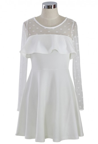 White Polka Dots Mesh Dress - Retro, Indie and Unique Fashion