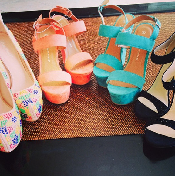 shoes coral turquoise