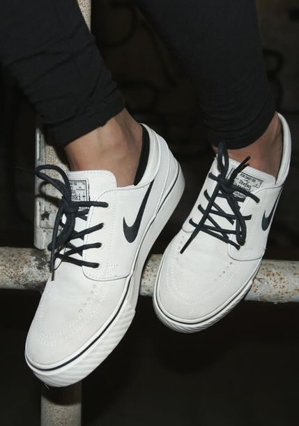 low priced 38237 f1f5b shoes nike sneakers white black mens shoes nike sb nikejanoski  stefanjanoski nike sb stefan janoski white