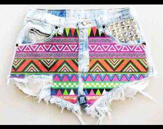 shorts printed highwaist colorful spikes shorts with spikes