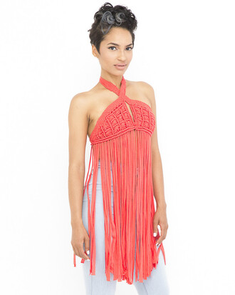 top fringes coral coral top fringed top
