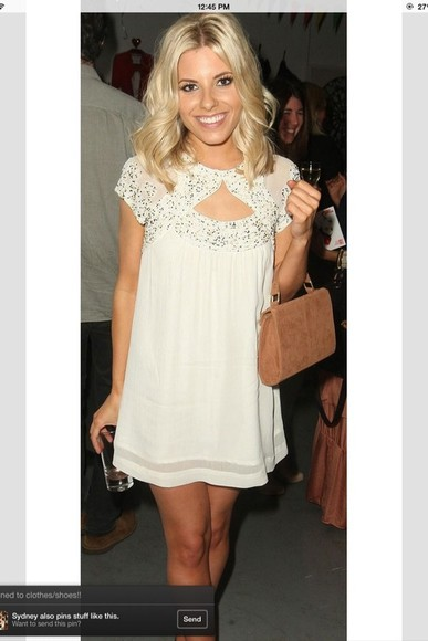 mollie king dress cream dress with silver sparkles