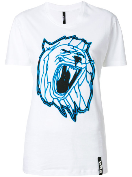 Versus - lion print T-shirt - women - Cotton - L, White, Cotton