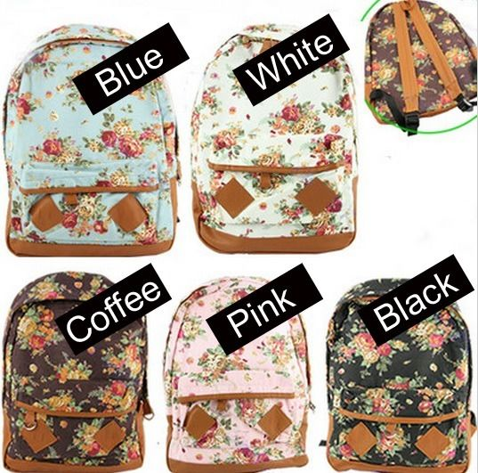 Girl Ladies Canvas Floral Backpack Book Bag Flower School Campus ...
