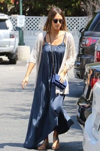 dress jessica alba summer dress cardigan sandals sunglasses summer outfits shoes