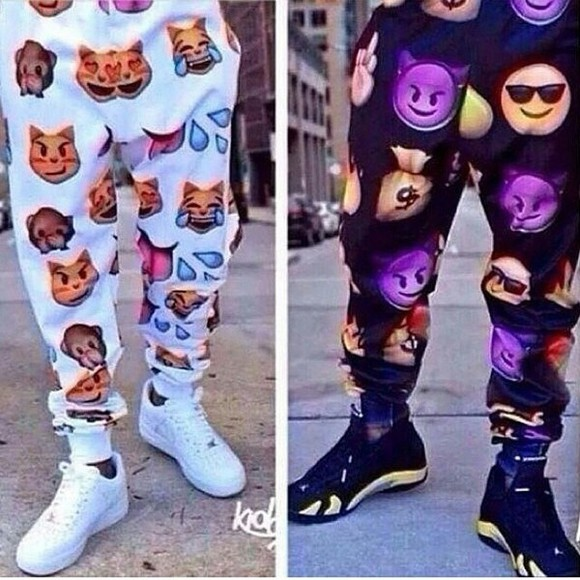 pants emoji print black white purple tan blue red swag leggings