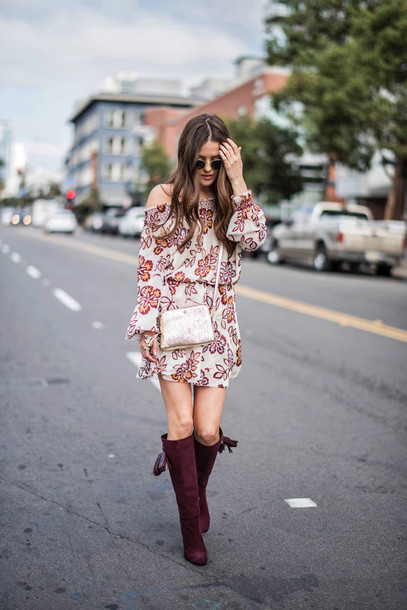c8b51bdd00d4 dress tumblr floral floral dress mini dress long sleeves long sleeve dress  boots brown boots knee