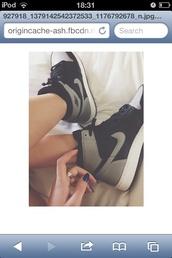 shoes,black and grey,nike hightops,retro jordans,makeupbymandy24