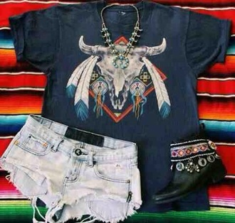 t-shirt shirt navy ethnic boho bohemian mayan native american red indians feathers bull skull rock hard core hardcore indie cute cool tumblr teenagers girl beaded gems tribal pattern summer spring fall outfits winter outfits shorts