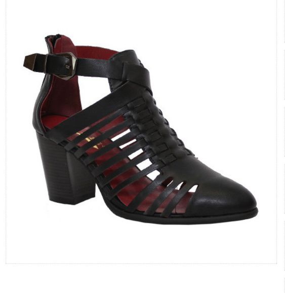 black shoes straps boots ankle boots strappy sandals size 5 cute mid heel booties