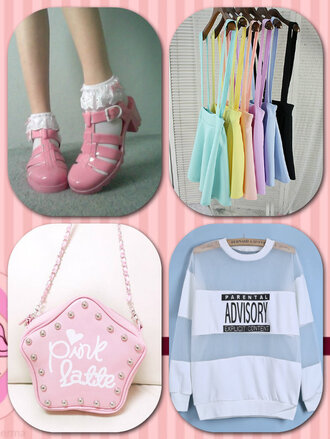 bag advisory top pink bag cute shoes skirt with suspenders socks japanese fashion japanese