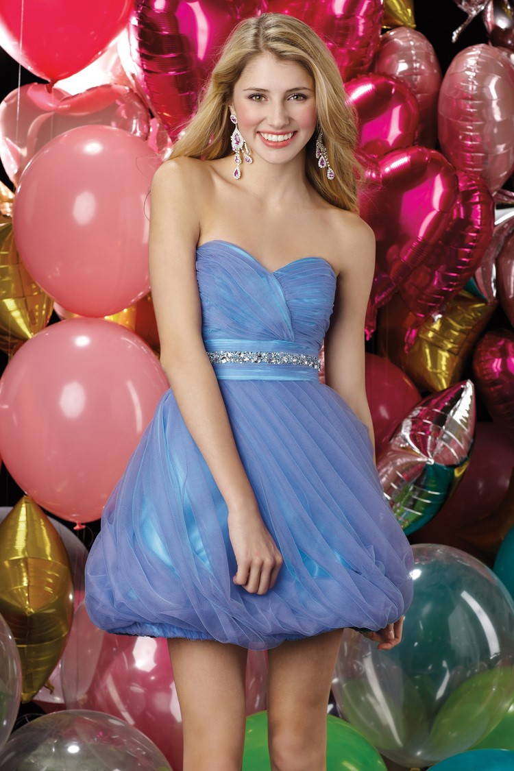 Sweetheart Mini Blue Organza A Line Homecoming Dress Oap0051