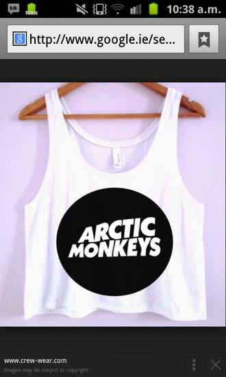 tank top arctic monkeys crop tops white vest belly top