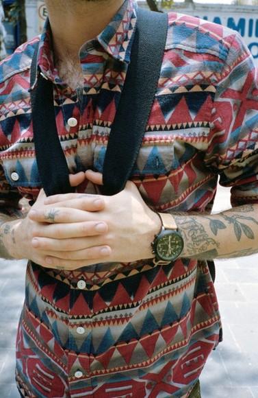 mens shirt menswear hipster menswear 46. aztec burgundy