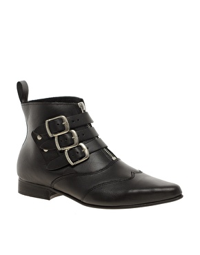 Underground | Underground Blitz Winklepicker Black Ankle Boots at ASOS