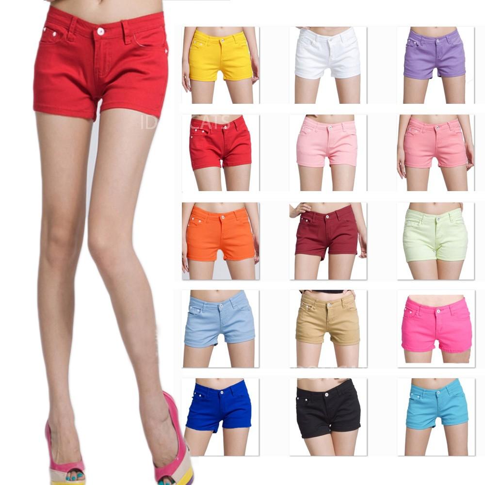 Hot Pink New Ladies Denim Like Hotpants Shorts Pants 25 31 US 0 0 2 4 6 Sz M   eBay
