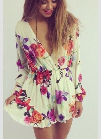 romper floral dress style fashion jumpsuit white playsuit flower print jumpsutis long sleeves shorts vintage romantic boho hippie festival