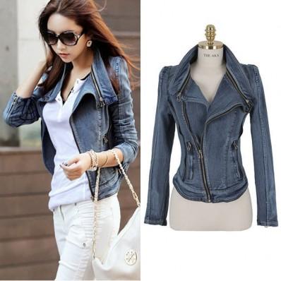 Sleeved zipper fashion slim denim jacket blouse