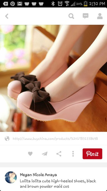 shoes high heels wedges pink cute shoes cute rose pastel brown black sweet girly kstyle korean fashion japanese playful ribbon korean style korean fashion lolita bow pink shoes bow shoes pretty shoes brown bow lolita wedges lovely cute wedges pink wedges