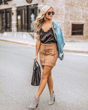 skirt,mini skirt,button up skirt,suede skirt,booties,animal print,handbag,top,denim jacket,aviator sunglasses,earrings