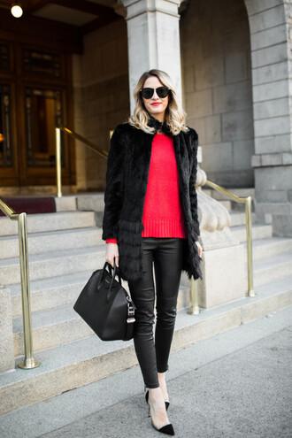 ivory lane blogger leather leggings faux fur coat