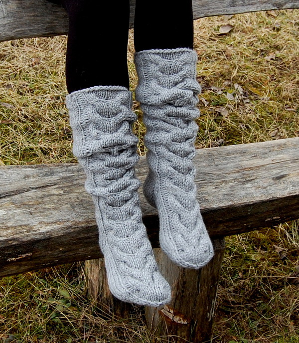 Socks Hand Knit Knee Socks Cable Knit Chunky Slippers Wool