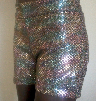 shorts short sequins rainbow shiny party cheerleading dance confetti colorful stretchy multicolor