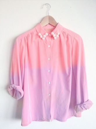 shirt long sleeves pearl ombre pink shirts purple tumblr outfit pastel