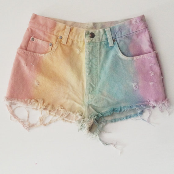Pastel rainbow shorts by lonelyclothingco on etsy