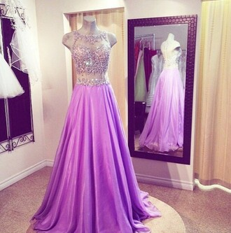 dress homecoming dress prom gown prom dress prom sparkle jewels love sleeveless sleeveless dress sheer beautiful long prom dress long dress long pink purple purple dress elegant dress
