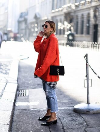 theclosetheroes blogger jacket sweater jeans shoes bag coat pants dress tights red sweater oversized sweater ysl bag mid heel pumps