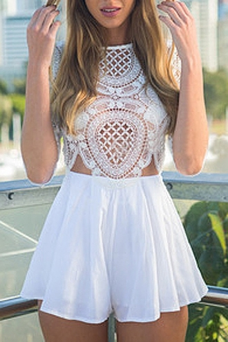 dress lace white white lace romper boho boho chic bohemian cute casual summer hippie zaful jumpsuit