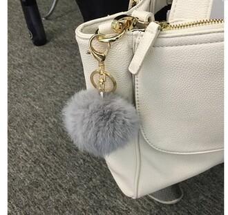 bag fuzzy keychain pom pom purse keychain handbag