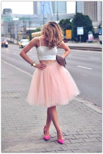 dress crop tops tutu skirt pink white