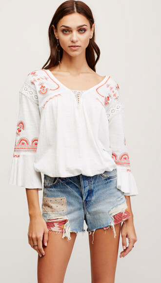 blouse peasant top embroidered peasant top peasant blouse white white blouse long sleeves