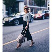 pants,tumblr,shirt,grey shirt,cropped pants,cropped,culottes,black culottes,bag,nude bag,sandals,sandal heels,high heel sandals