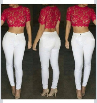 top lace top crop tops blouse pants leggings white jeans high waisted jeans high heels high waisted pants cute top cute high heels outfit style fashion nude nude high heels shoes jeans red lime sunday